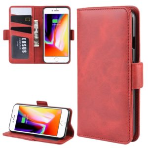 For iPhone SE 2020 / 8 / 7 Double Buckle Crazy Horse Business Mobile Phone Holster with Card Wallet Bracket Function(Red)