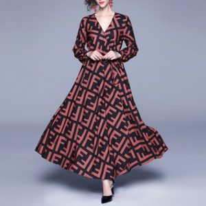 Fashion Print Large Swing Waist Lace Dress (Color:Dark Red Size:M)