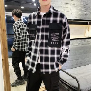 Long Sleeve Casual Versatile Tooling Shirt Jacket for Men, Size: XL(Black )