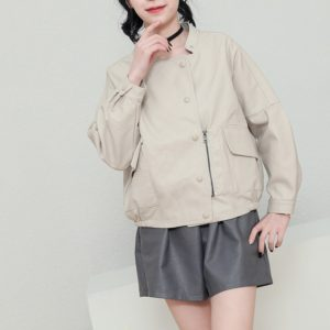 Women Casual Stand Collar Leather Jacket (Color:Beige Size:L)