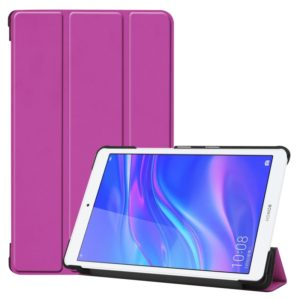 Custer Texture Colored Drawing Horizontal Flip PU Leather Case for Huawei MediaPad M5 Lite 8.0, with Three-folding Holder(Purple)