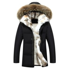 Men and Women Leisure Down Jacket Winter Thick Warm lovers Fur Collar, Size:S(Black)