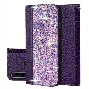For Galaxy A20s Crocodile Texture Glitter Powder Horizontal Flip Leather Case with Card Slots & Holder(Purple)