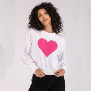 Round Neck Pullover Love Print Long Sleeve Sweatshirt (Color:White Size:XL)