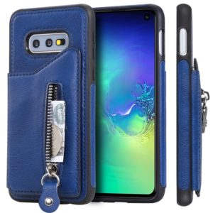 For Galaxy S10e Solid Color Double Buckle Zipper Shockproof Protective Case(Blue)