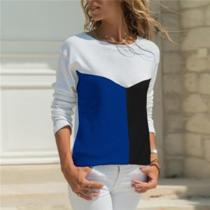 Round Neck Casual Stitching Geometric Long-sleeved Shirt, Size: L(White Blue Black)