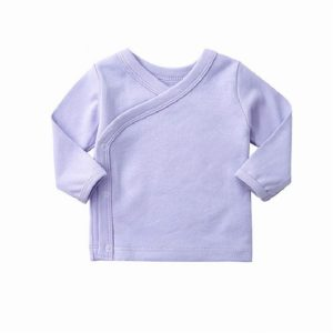 Spring and Autumn Baby Solid Color Cotton Underwear Home Clothes Bottoming Tops, Height:59cm(Light Purple)