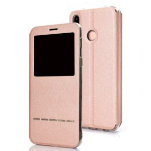 Frosted Texture Horizontal Flip Leather Case for Huawei P20 Lite, with Call Display ID & Holder(Rose Gold)