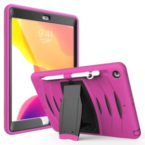For iPad 10.5 2019 360 Degree Rotation PC + Silicone Protective Case with Holder & Hand-strap(Rose Red)