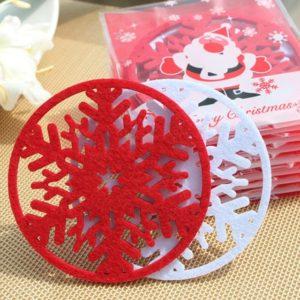 10 PCS Merry Christmas Decorations Snowflakes Cup Pad Non-woven Fabric Dinner Party Dish Tray Coffee Pads(Red)