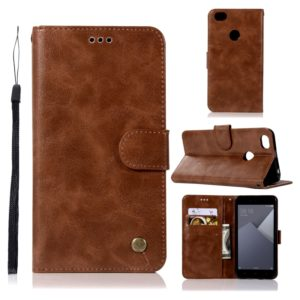 For Xiaomi Redmi Note 5A Retro Copper Button Crazy Horse Horizontal Flip PU Leather Case with Holder & Card Slots & Wallet & Lanyard(Brown)