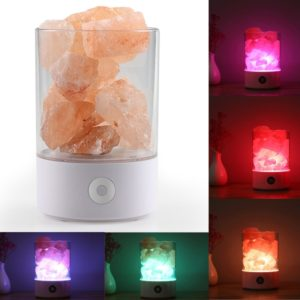 Sunshine M2 Creative HIMALAYA Crystal Salt Lamp, USB Charge Healthy Rock Table Desk Lamp Night Light with Base(White)