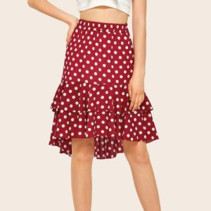 After Irregular Short Long Wave Point Half-length Skirt (Color:Wine Red Size:S)