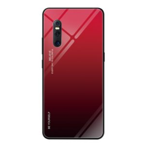 For VIVO X27 Gradient Color Glass Case(Red)