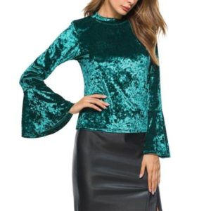 Stand Collar Trumpet Seeve Long Sleeve Velvet Top (Color:Green Size:L)