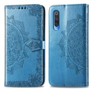 For Xiaomi Mi 9 Halfway Mandala Embossing Pattern Horizontal Flip Leather Case with Holder & Card Slots & Wallet & Lanyard(Blue)