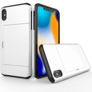 Shockproof Rugged Armor Protective Case for iPhone X / XS , with Card Slot(White)
