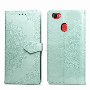 For OPPO F7 Embossed Mandala Pattern PC + TPU Horizontal Flip Leather Case with Holder & Card Slots(Green)