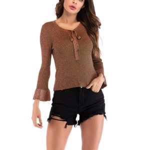 Autumn and Winter Solid Color Long-sleeved Pullover Sweater (Color:Caramel Size:M)