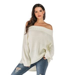 Long Sleeve Women Sweater (Color:White Size:L)