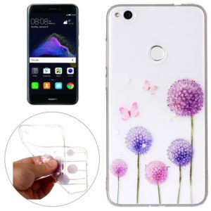 For Huawei P8 Lite (2017) Butterfly Purple Dandelion Pattern Embossment TPU Protective Back Cover Case