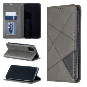 Rhombus Texture Horizontal Flip Magnetic Leather Case with Holder & Card Slots & Wallet For iPhone 11 Pro Max(Grey)