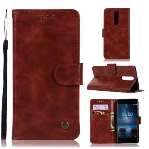 For Nokia 8 Retro Copper Buckle Crazy Horse Horizontal Flip PU Leather Case with Holder & Card Slots & Wallet & Lanyard(Wine red)