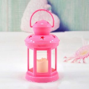 Hollow Star Iron Candle Holder Metal Crafts Portable Candle Holder Decoration(Pink)