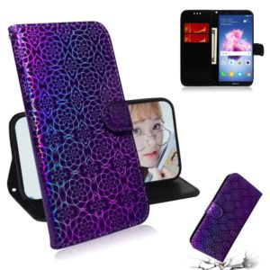 For Huawei Y5 2018 / Y5 Lite 2018 Solid Color Colorful Magnetic Buckle Horizontal Flip PU Leather Case with Holder & Card Slots & Wallet & Lanyard(Purple)