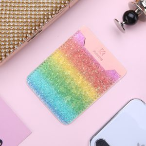 Adhesive Stick-on Phone Holder ID Credit Card Sleeve Rainbow Print Leather Pouch for 4.7-5.8 inch Android & iPhone Smartphones (FLOVEME)
