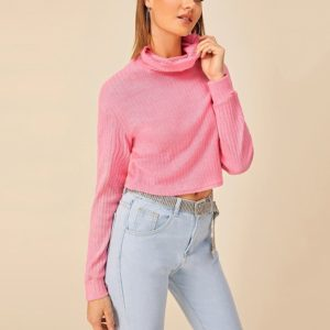 Solid Ribbed Turtleneck Sweater Bottoming Sweater (Color:Pink Size:XL)