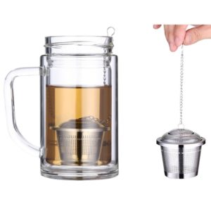 Stainless Steel Locking Spice Tea Strainer Mesh Infuser Tea Ball Filter, Middle Size: 6.5 x 6cm