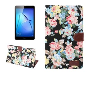 For Huawei MediaPad T3 8.0 inch Flower Pattern Cloth Surface Horizontal Flip Leather Protective Case with Holder & Card Slots & Wallet & Photo Frame