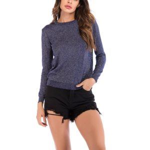 Autumn and Winter Solid Color Long-sleeved Pullover Sweater (Color:Blue Size:M)