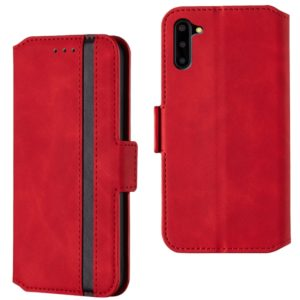 For Galaxy Note10 Retro Frosted Oil Side Horizontal Flip Case with Holder & Card Slots(Red)