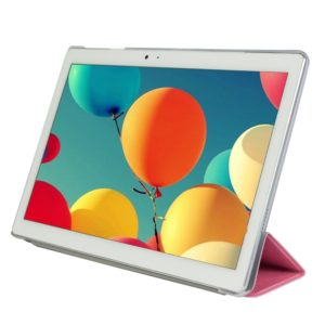 Frosted Texture Horizontal Flip PU Leather Protective Case for Teclast T10, with Three-folding Holder (Pink)