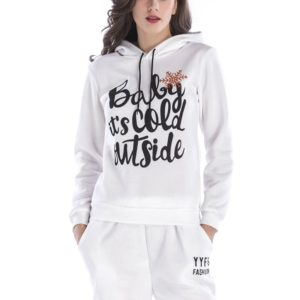 Hooded Long Sleeve Casual Loose Sweatshirt (Color:White Size:S)