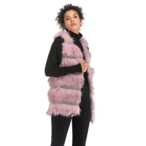Woolen Vest Warm And Loose Long Coat (Color:Pink Size:L)