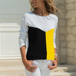 Round Neck Casual Stitching Geometric Long-sleeved Shirt, Size: L(White Black Yellow )