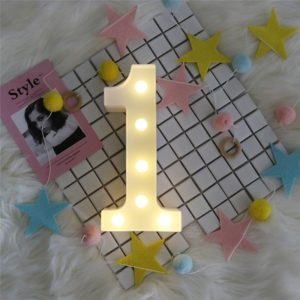 Digit 1 Shape Decoration Light, Dry Battery Powered Warm White Standing Hanging Holiday Light