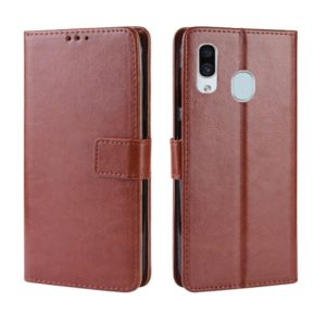 Retro Crazy Horse Texture Horizontal Flip Leather Case for Galaxy A20/A30, with Holder & Card Slots & Photo Frame(Brown)