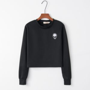 Printed Long Sleeve Sweatshirt (Color:Black Size:XL)