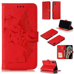 Feather Pattern Litchi Texture Horizontal Flip Leather Case with Wallet & Holder & Card Slots For iPhone XS Max(Red)