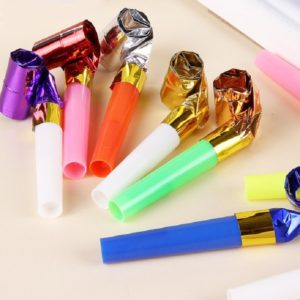 100 PCS Children Small Toy Plastic Whistle Birthday Party Cheering Small Gift Gold Paper Blowing Dragon Horn(Color Random Deilvery)