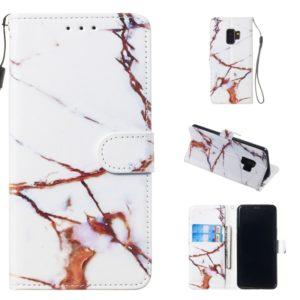 Leather Protective Case For Galaxy S9(White Gold Marble)