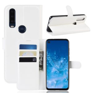 Litchi Skin PU Leather Wallet Stand Mobile Casing for Motorola Moto P40 Power(white)