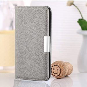 For Galaxy A10 Litchi Texture Horizontal Flip Leather Case with Holder & Card Slots(Grey)