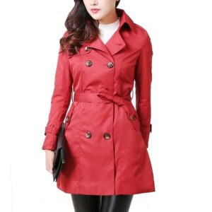 Mid-length Slim Casual Lace-up Trench Windbeaker (Color:Red Size:S)