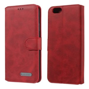 For OPPO A59 / F1s Solid Color Buckle Horizontal Flip Leather Case with Wallet & Holder & Card Slots(Red)