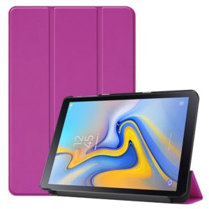 Solid Color Custer Texture Horizontal Flip PU Leather Case for Galaxy Tab Advanced2 / T583, with Three-folding Holder (Purple)